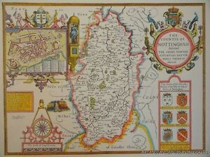 OLD COPY OF JOHN SPEED MAP OF NOTTINGHAM TOWN AND EARLS TOWN PLAN 1610