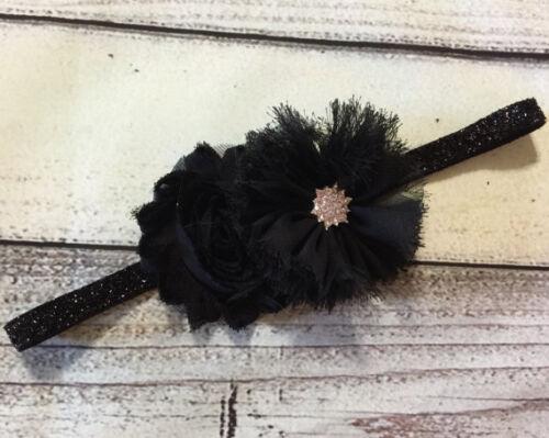 Christmas Vintage Black Flowers Baby//Toddler //Girl Headband