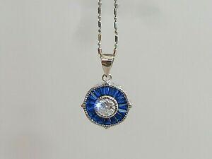 Damen-Art-Deco-Stil-Sterling-925-Massiv-Silber-Blau-amp-Weiss-Saphir-Ziel-Anhaenger