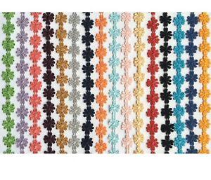 12-5mm-Daisy-Flower-Lace-Trim-per-yard-Pick-Your-Colour