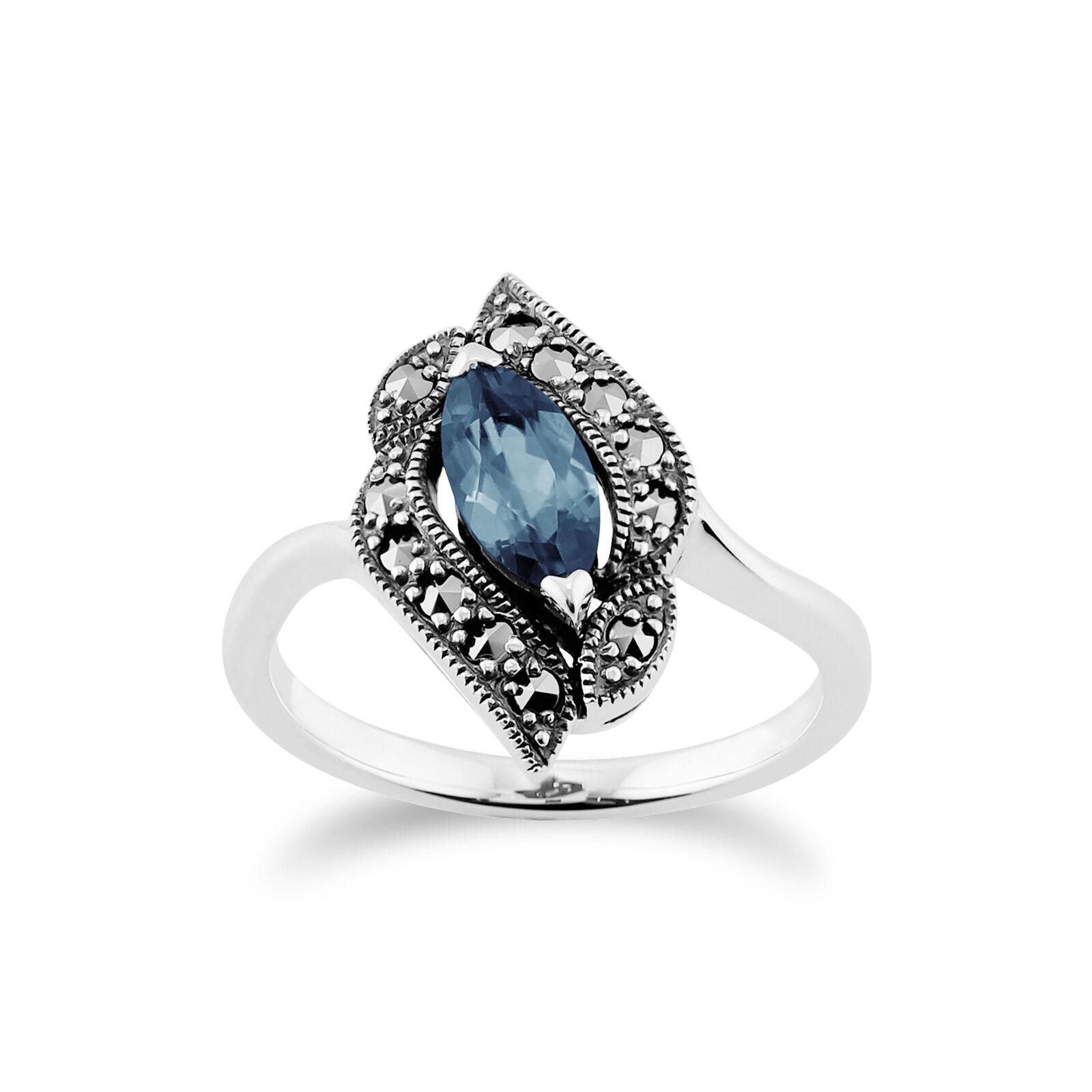 Gemondo silver Sterling Topaze blue & Marcassite Art Nouveau Bague