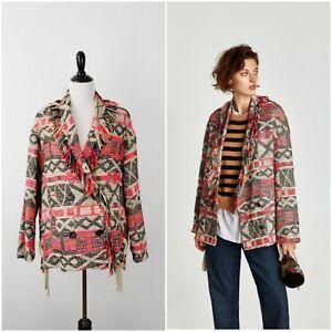 4c7a1a78 NWT ZARA Women's Fringed Coat With Ribbons Geometric Tribal Print ...