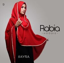 Red Rabia Hoodie Instant Hijab One Piece Slip On Jilbab Abaya Muslim Islam