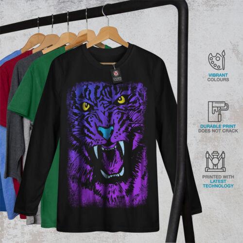 Tiger Beast Purple Animal Women Long Sleeve T-shirt NEWWellcoda