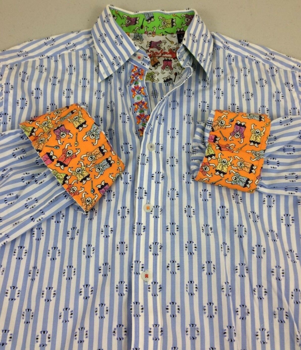 Robert Graham Men Dress Shirt Large Made In India Weiß/Blau Stripes W/ Design-