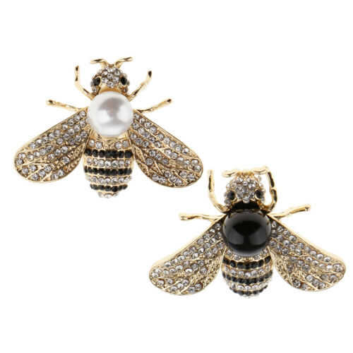 2pcs Lovely Abeille Bug Broche Broche Perle Cristal Strass Insecte Corsage