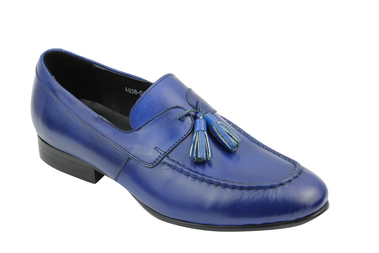 POLO da uomo blu Vera Pelle Nappa Mocassini Mocassini Smart Casual Vintage Mod Scarpe