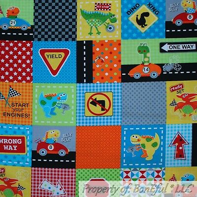 BonEful Fabric FQ Cotton Quilt Color Block Square Star Stripe Red Blue Dot Baby