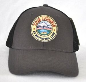 Details about *THE LODGE AT WHITEFISH LAKE* Montana Trucker mesh Ball cap  hat snapback