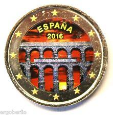 2 Euro Farbmünze Spanien 2016 Aquädukt von Segovia  in Farbe / coloriert  #2
