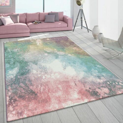 Short Pile Living Room Rug Colourful Modern Galaxy Design Pastel Colours Multi-Coloured