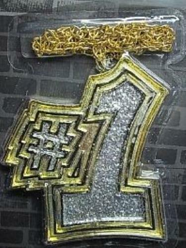Gold Big Number 1 # One Medallion Necklace Accessory