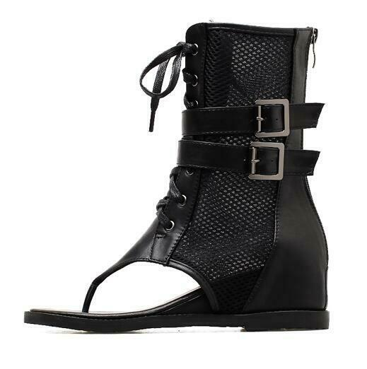 Fashion Womens Hollow Out Roma Ankle Boots Summer Clip Toe Zipper shoes US 4.5-9