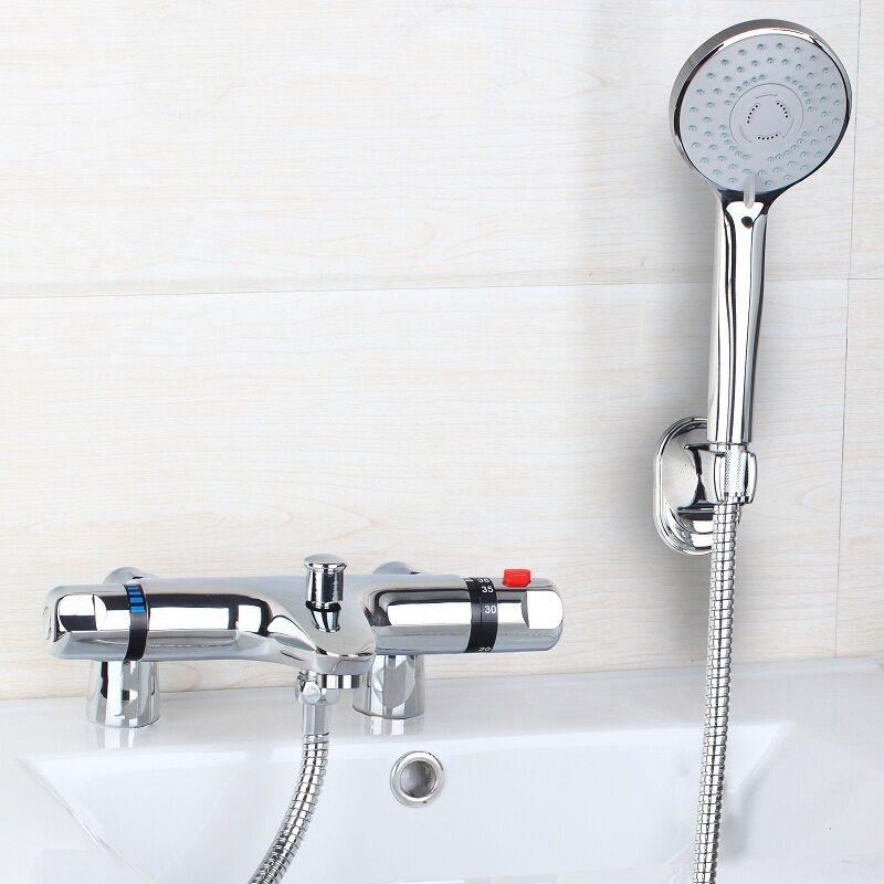 Thermostatique Salle de bain robinets Bain Douche Mitigeur combiné pont monté robinet Set