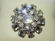 Vintage 1950s Weiss Signed Large Rhinestone Brooch Clear Prong Set Round