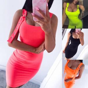 Summer-Neon-Bright-Buckle-Straps-Mini-Dress-Women-Sexy-Bodycon-Slim-Party-Dress