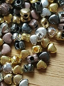 100-Mixed-Tibetan-Silver-small-4mm-HEART-BEADS-Spacer-Jewellery-making-Crafts