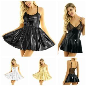 Women Ladies Shiny Metallic Party Swing Flare Skater Mini Short Dress Dance Club