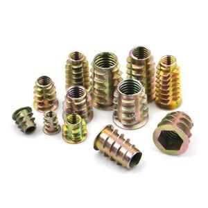 10Pcs-set-Zinc-Alloy-Hex-Drive-Head-Screw-Insert-Nut-Threaded-For-Wood-M4-M10-amp-fj