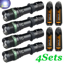 350000LMS T6 LED Zoomable Flashlight Rechargeable 18650 Torch+Battery&US Charger