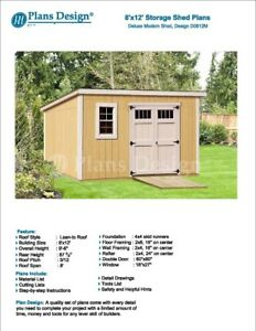 8 x 12 deluxe back yard storage modern shed project plans do it image is loading 8 039 x 12 039 deluxe back yard solutioingenieria Image collections