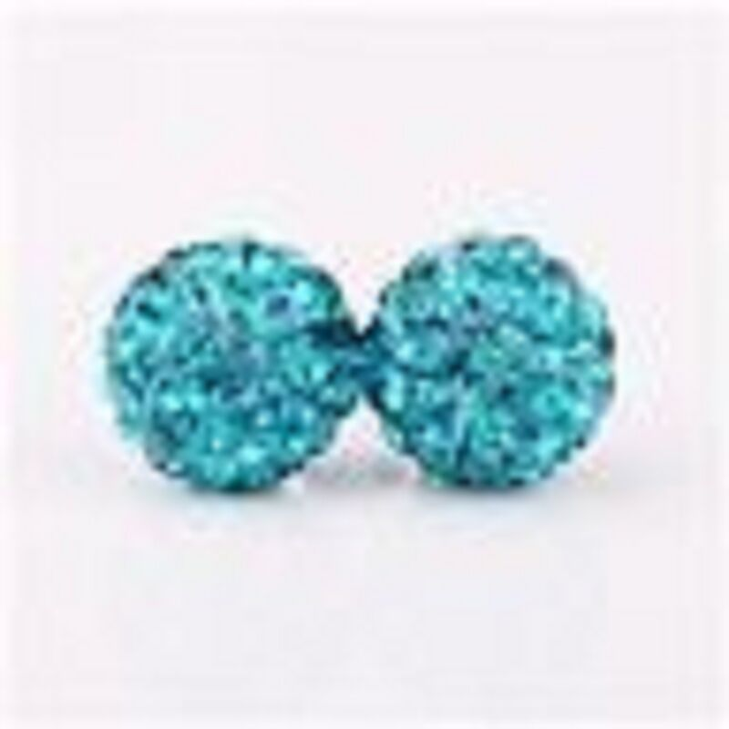 Sparkly Blue Stud Earrings With Austrian Crystal Disco Bead-uk-seller
