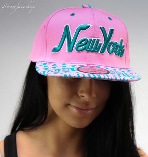 NY Snapback Coperchi Hip Hop Baseball Piatto Picco Aderente Cappelli Unisex Bling Rosa