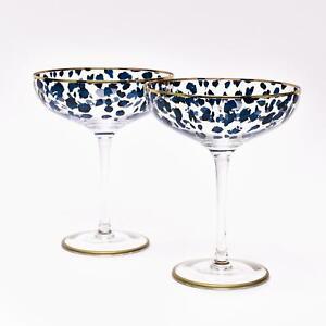 Sophia Collection Set of 2 Leopard Print Cocktail Glasses