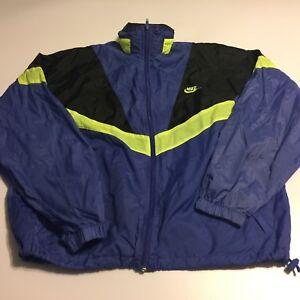 30a982338 Vtg NIKE Color Block Nylon Windbreaker Hood Vented Full Zip Jacket ...