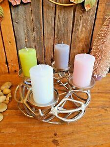 Edler Adventskranz 30cm Alu Metall Kerzenleuchter Ständer Weihnachten Deko Tisch