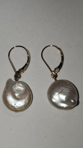 Vintage 14k Gold Fresh Water Pearl Earrings 3.7 gr