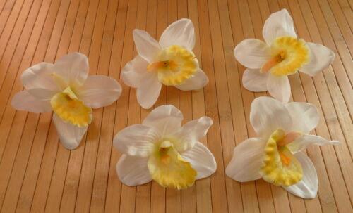 5  x Orchideenblüte weiß//gelb  Blütenköpfe 13 cm Kunstblumen