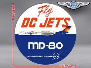 ALLEGIANT AIR LIVERY ROUND MD80 MD 80 FLY DC JETS DECAL / STICKER