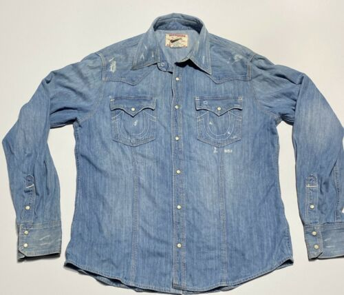 True Religion Mens 3XL Denim Pearl Snap Western Lo