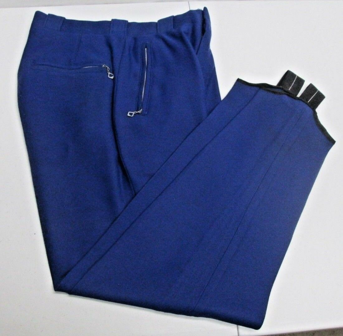 Vintage Slalom Ski Wear Pants Wool bluee Stirrup B.F. Moore & Co. Vermont USA