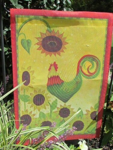 Wake Up Call Rooster Small Garden Flag by Windswept Fall Sunflower and Rooster