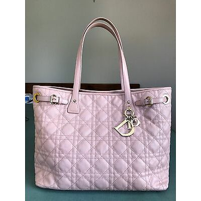 Authentic Dior Lady Cannage Panarea Tote Bag Pink Medium