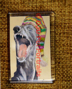 Funny-Greyhound-Lurcher-Fridge-Magnet-yawning-Dog-Stocking-Filler-to-Charity