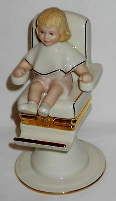 "Lenox ""First Lock Of Hair"" Treasure Box Figurine W/ Child In Barber Chair L@@K!"