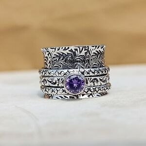 Amethyst-Ring-925-Sterling-Silver-Spinner-Ring-Meditation-Statement-Jewelry-A258