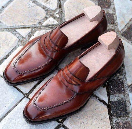 Handmade Men Marronee Leather scarpe  mocassins, Men Marronee abiti scarpe, scarpe da uomo  shopping online e negozio di moda