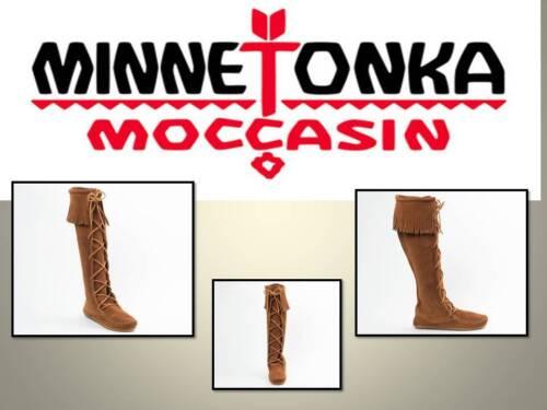 daim Bottes marron en Mocassins Font montées Laces au genou 1422 pour Minnetonka femmes x4CSwP