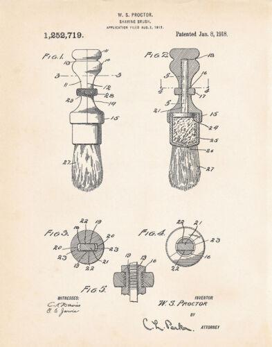 1918 Shaving Brush Men/'s Bathroom Wall Decor US Patent Art Print Poster Repro