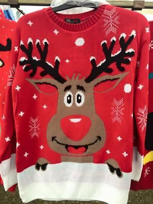 Analytisch Bnwt Mens Ladies Xmas Unisex Plus Size 2xl-4xl Reindeer Jumper Sweater Pullover