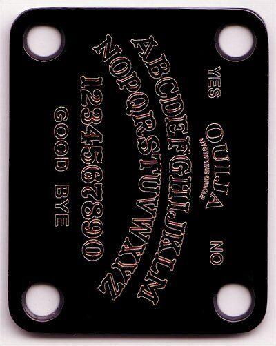 GUITAR NECK PLATE Custom Engraved Etched - OUIJA BOARD - BLACK