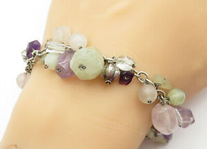 925-Sterling-Silver-Vintage-Rose-Quartz-amp-Amethyst-Chain-Bracelet-B6428