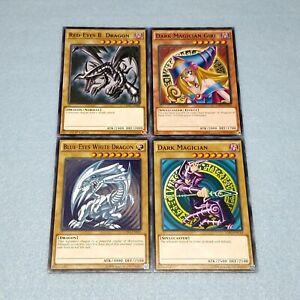 Yugioh-Blue-Eyes-White-Dragon-Dark-Magician-Girl-Red-Eyes-Black-4-Card-Set-Lot