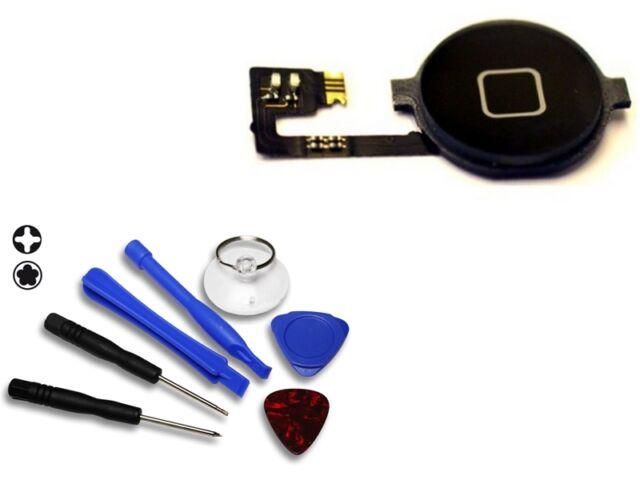 Für iPhone 4 Homebutton Home Button Flex 4G - Schwarz & Werkzeug Set NEUWARE