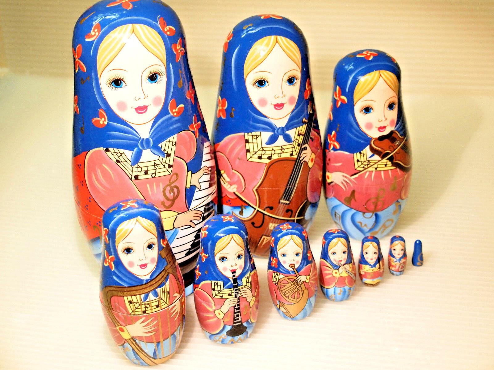 Orquesta Muñecas anidación Juego de 10 Muñecas musiciants Matryoshka