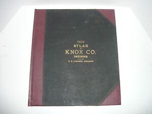Knox County Indiana Map.1903 Historical Atlas Of Knox County Indiana Vincennes Vigo Rare
